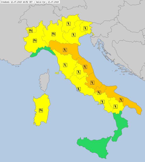 Ostrzeżenia meteorologiczne dla Włoszech (meteoalarm.eu)