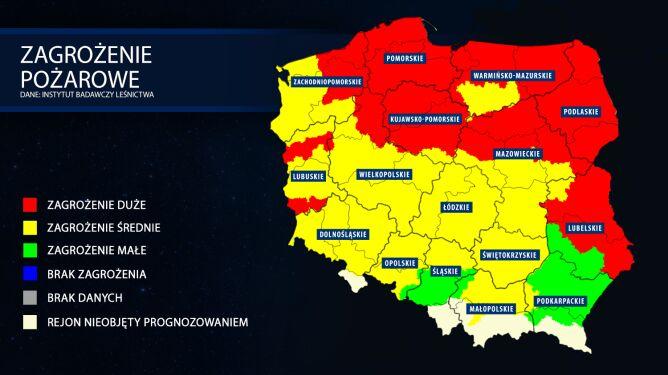 Mapa zagrożenia pożarowego (tvnmeteo.pl za IBL)