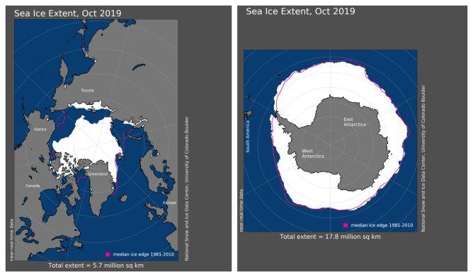 Zasięg pokrywy lodowej w październiku 2019 (NOAA)