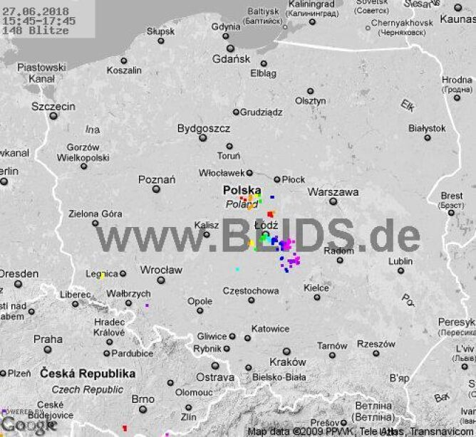 Ścieżka burz w godzinach 15.45-17.45 (blids.de)